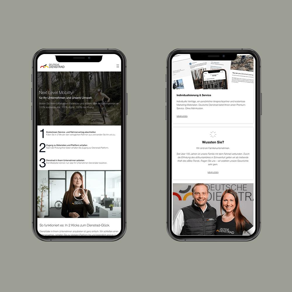 Mobile Ansicht von Website