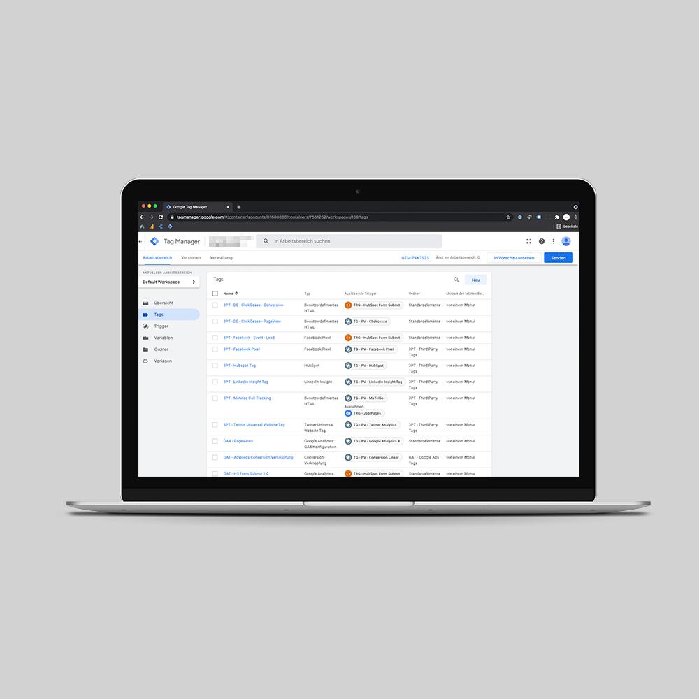 Screenshot von Google Tag Manager Analyse